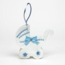 Decorar regalos bautizo. Carrito azul