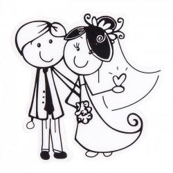 Detalles de boda. Adhesivo novios