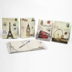 Detalles para invitados libreta y bolígrafo vintage