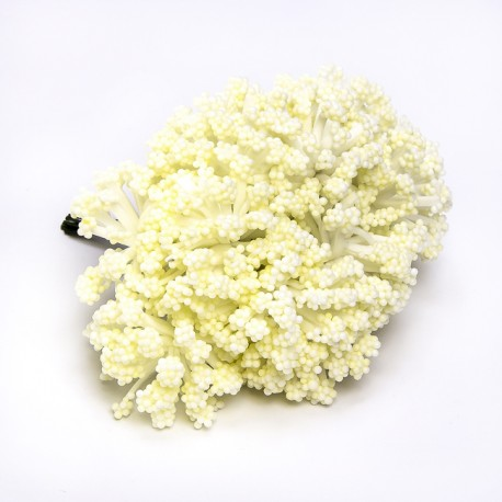 Flores para decorar. Flor blanca - Bolsa 12 pompones flor blanca