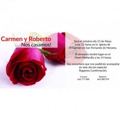 Invitación boda rosas