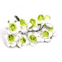 Flores para decorar bicolor - Bolsa 10 pompones color verde