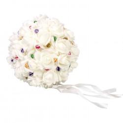 Montaje de alfileres de novia. Bola de rosas